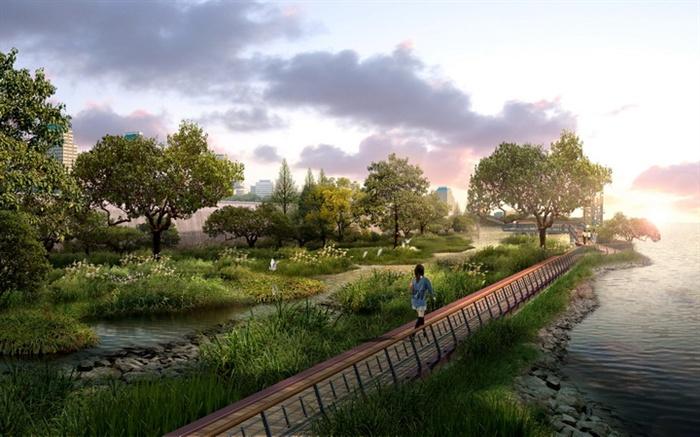 园林景观之滨水公园游步道景观效果图 PSD格式