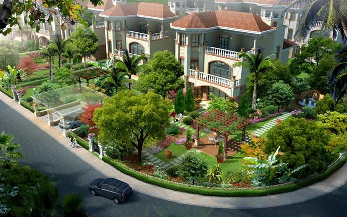 某欧式别墅住宅区庭院花园建筑景观效果图psd格式