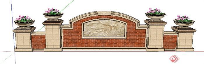 园林景观之欧式景墙设计su模型14