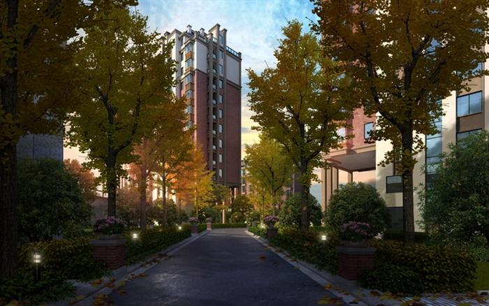 某居住小区林荫大道设计效果图PSD格式高清图片