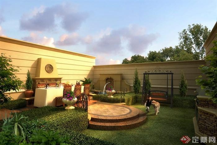 某别墅庭院景观设计效果图PSD格式1