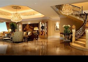 某复式住宅一楼室内设计效果图Psd格式