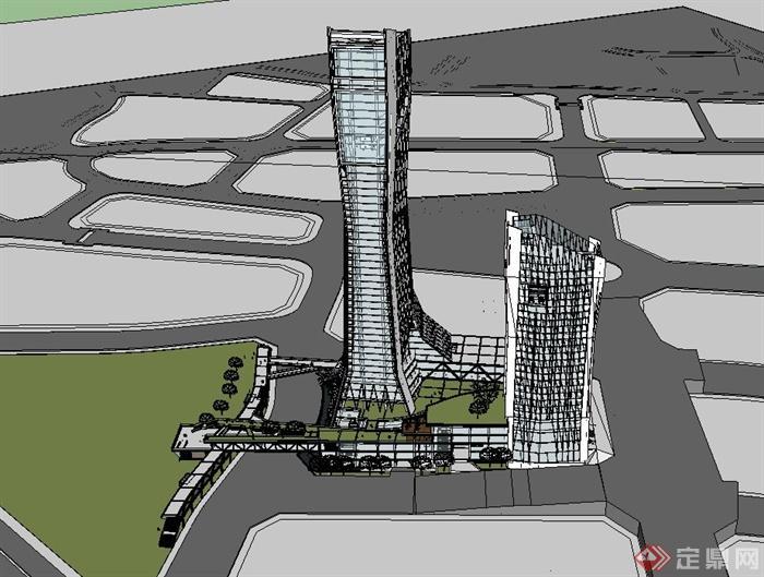某城市综合体建筑设计su模型(1)