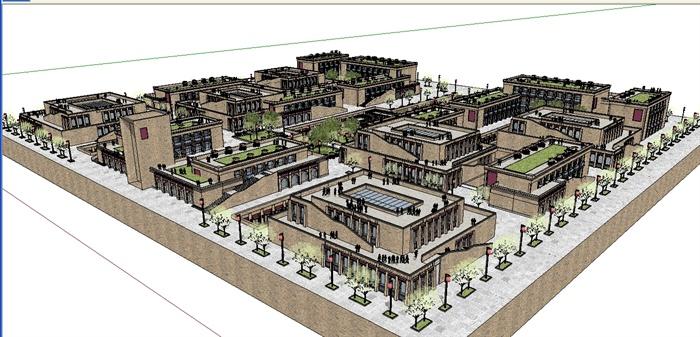 某简欧式美食商业广场建筑设计su模型[原创]图片
