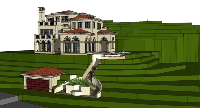 某山地欧式别墅建筑设计su模型[原创]