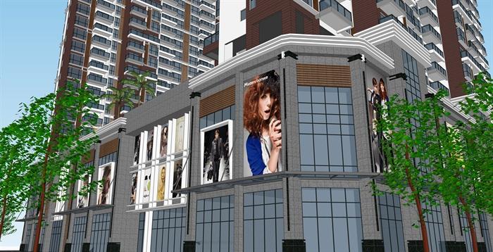 某商业高层住宅楼建筑设计SU效果图jpg格式