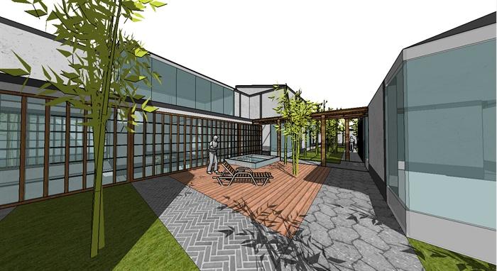 现代别墅庭院景观设计_某现代别墅建筑设计以及庭院景观SU模型[原创]