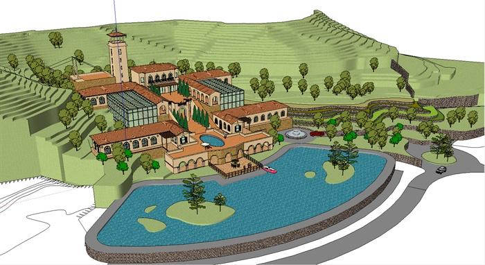 某欧式滨水会所建筑设计su模型1[原创]