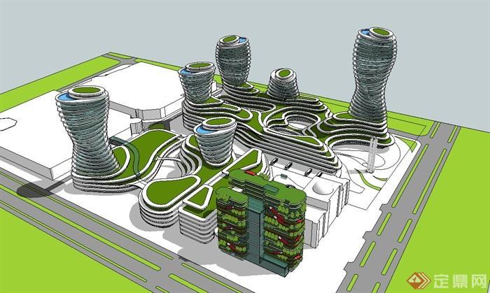 某中心商业区规划设计su模型,建筑设计造型独特,模型为建筑外观构造