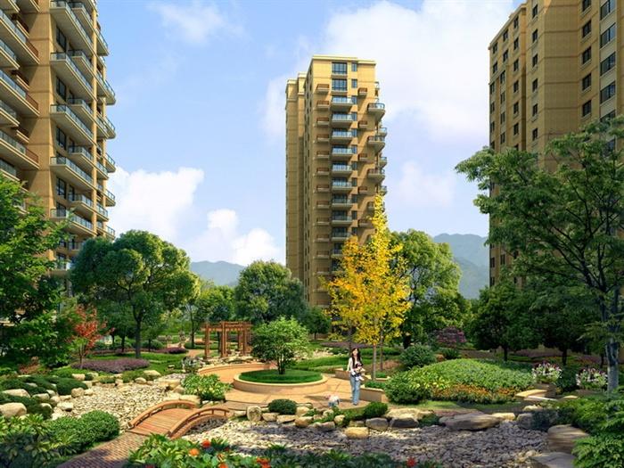 某高层住宅小区绿化花园景观效果图psd格式