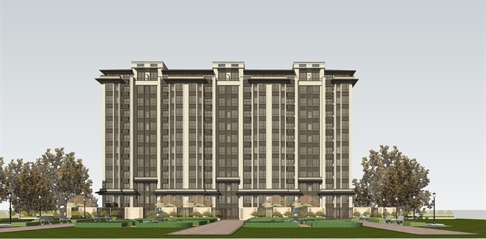 某中式小高层住宅楼建筑设计su模型图片