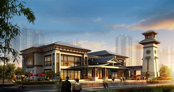 某新古典售楼处建筑方案设计 含效果图图片