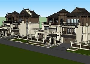 某别墅建筑设计SU(草图大师)模型(徽派+东南亚风格)