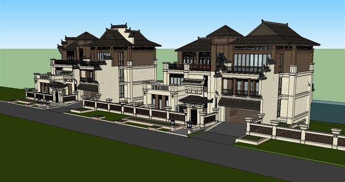 某别墅建筑设计su模型,该别墅是徽派加东南亚的混合风格.