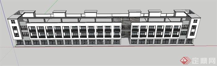 某老年公寓建筑设计su模型(含cad立面图)(1)