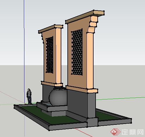 园林景观之欧式景墙设计方案su模型1(2)