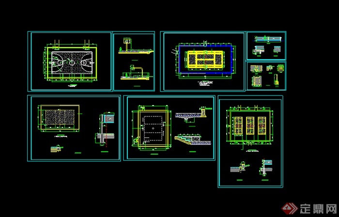 某体育运动场篮球场设计CAD图纸(1)