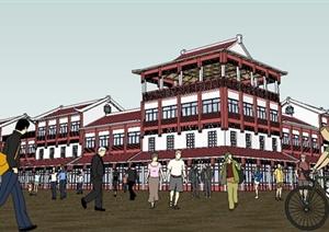 某中式仿古商业街建筑设计su(草图大师)模型图片