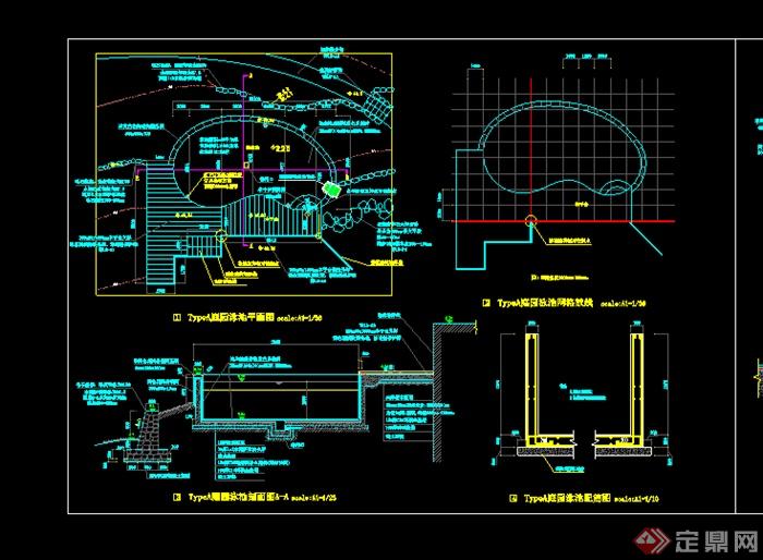 某园林景观泳池水池施工图CAD图纸