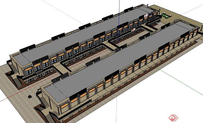 某小型商业步行街建筑设计su模型-设计师图库