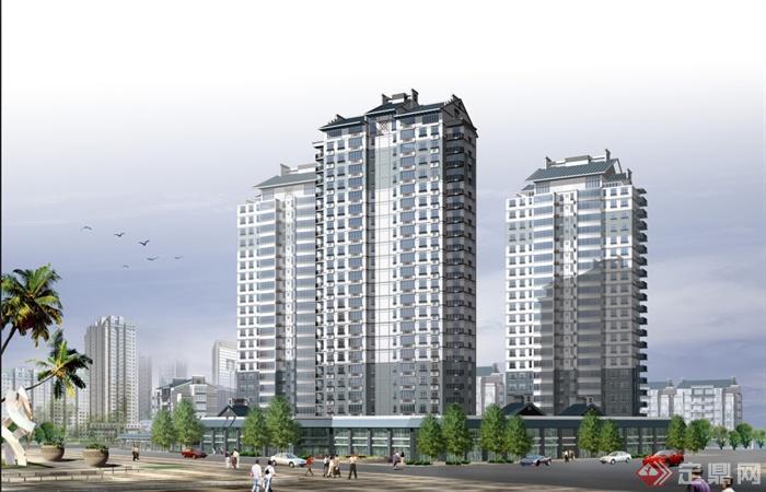 某中式高层住宅商住小区建筑设计 含效果图