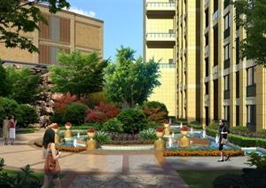 园林景观之小区花坛,喷泉景墙景观效果图(psd格式)图片