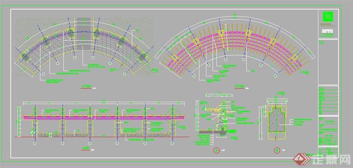 某园林景观弧形花架施工图cad图纸1 1