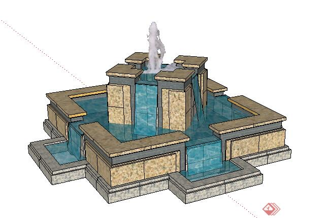 园林景观之喷泉水景设计su模型1