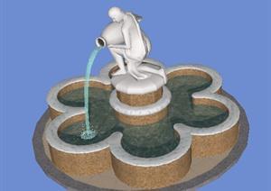 园林景观之喷泉水景设计SU(草图大师)模型2-水景喷泉园林景观细部图片