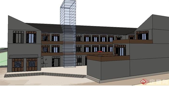 某现代商业街建筑设计su模型素材[原创]