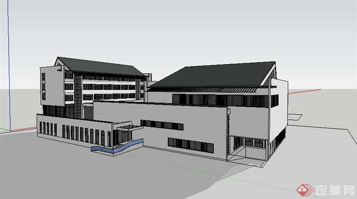 某中式体育馆建筑设计su模型素材[原创]
