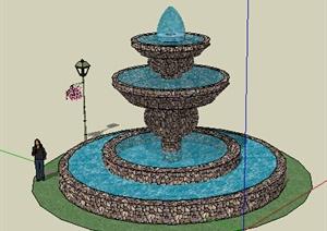 园林景观之喷泉水景设计SU(草图大师)模型30-水景喷泉园林景观细图片