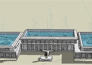 园林景观之喷泉水景设计SU(草图大师)模型31-水景喷泉园林景观细图片