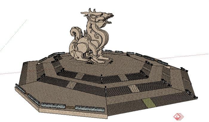 园林景观之雕塑小品设计su模型,该模型设计精美细致,细节处