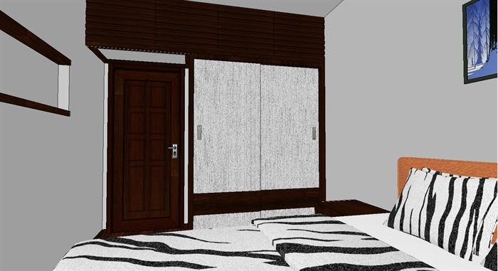 某一室一厅单身公寓室内装饰设计SU模型