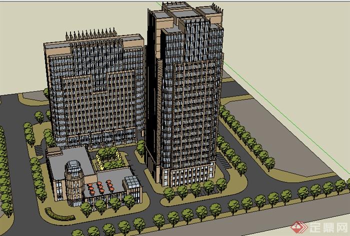 某现代商业建筑楼设计su模型素材1 2