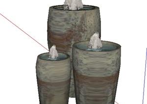 园林景观之喷泉水景设计SU(草图大师)模型42-水景喷泉园林景观细图片