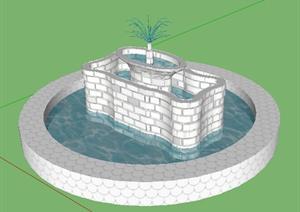 园林景观之喷泉水景设计SU(草图大师)模型45-水景喷泉园林景观细图片
