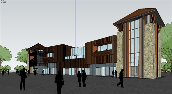 某创意商业楼建筑设计su模型,建筑设计造型独特,混搭风格设计,模型