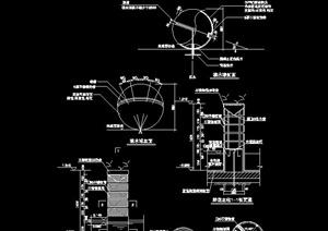 某鲜花立柱和喷水球景观设计施工图