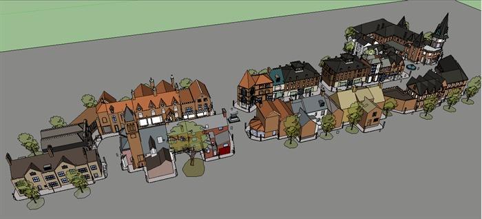 某欧式风格商业街区建筑设计sketchup模型[原创]