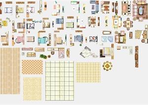多款室内设计家具,铺装彩色平面psd素材图片