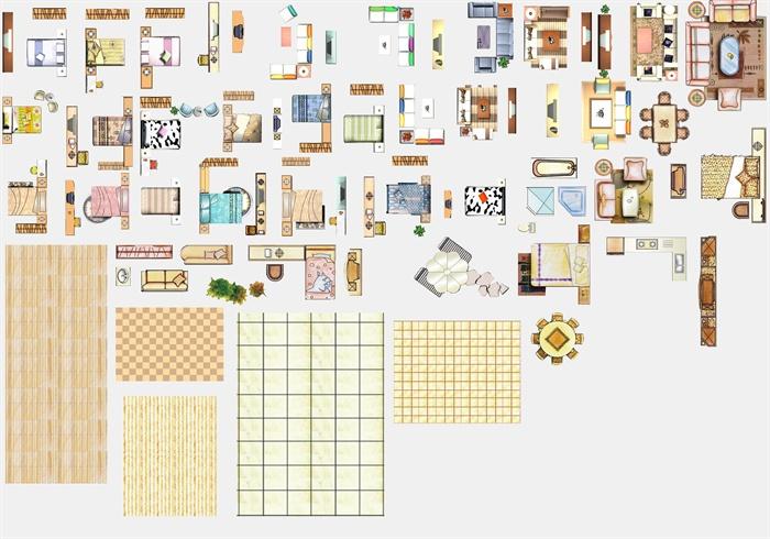 多款室内设计家具,铺装彩色平面psd素材[原创]