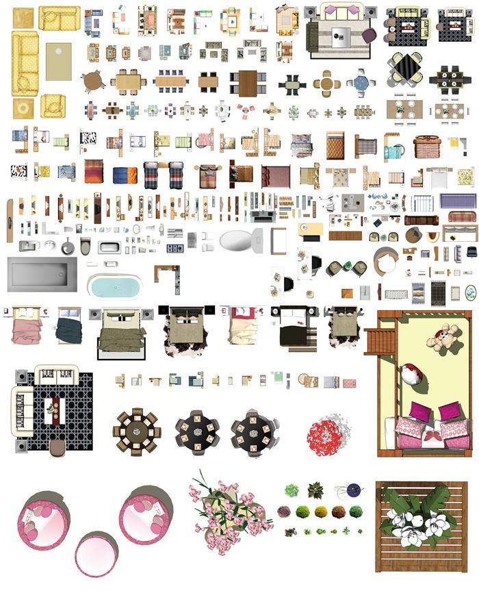 室内家具设计彩色PSD平面图素材