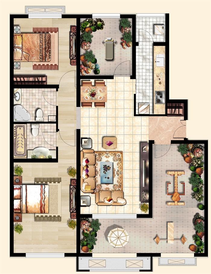 某三室一厅一厨两卫带阳台室内设计户型平面图psd格式