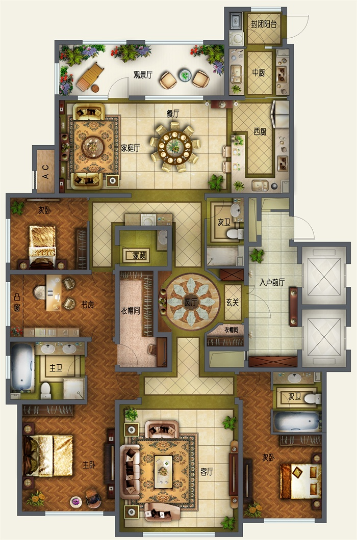 某豪华住宅室内设计高清户型平面图psd格式[原创]