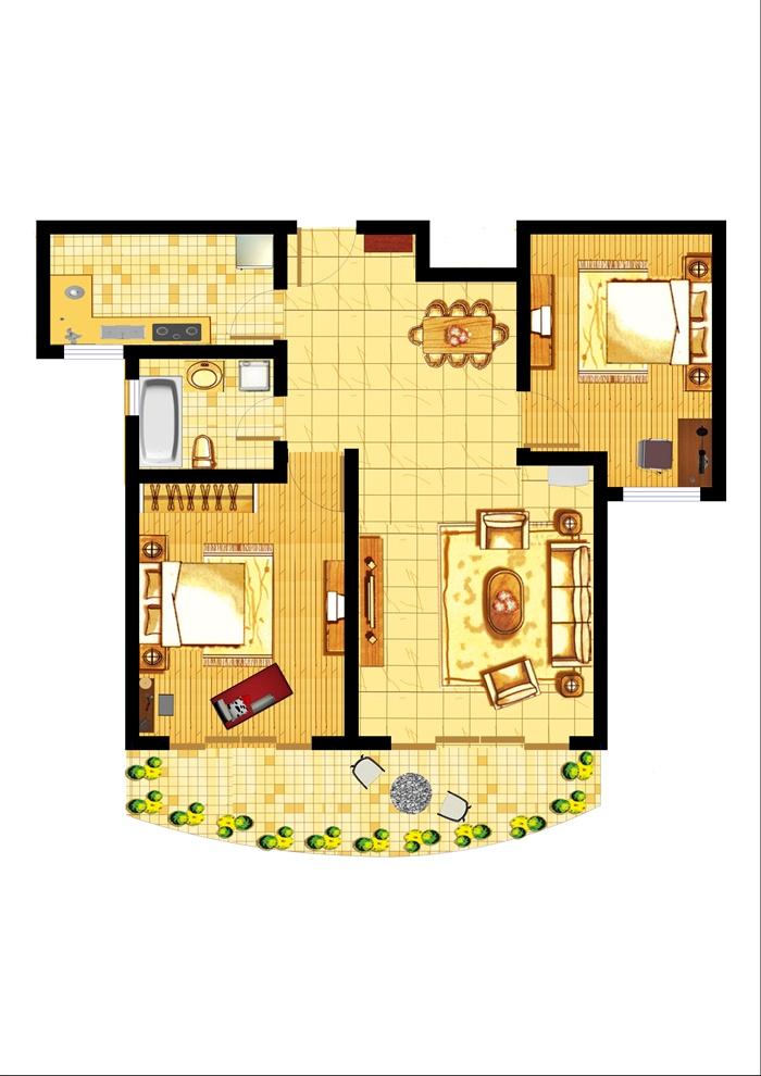 某两室两厅一厨一卫室内设计户型平面图psd格式
