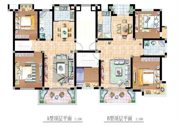 两套住宅室内设计户型平面图psd格式,手绘效果表现到位,图层分层清晰,空间布局合理,整体色调统一,可以供广大室内设计爱好者使用,也可用作同类项目参考使用。