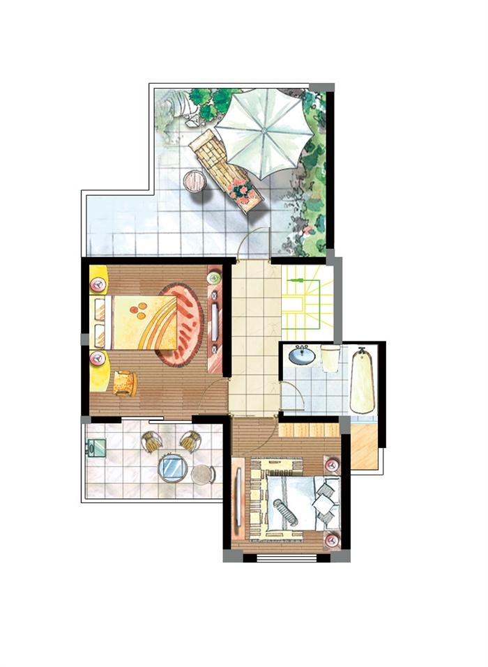 某别墅住宅二楼室内设计手绘效果户型图psd格式[原创]