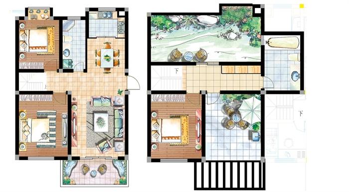 <> 某复式楼装饰设计psd方案图,装饰简洁大方,现代风格,图纸图片